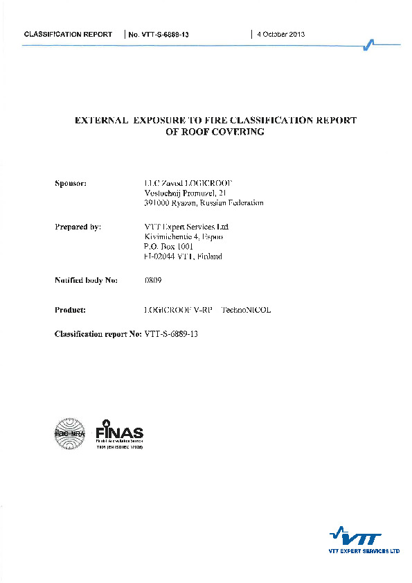 External exposure to fire classification report of roof covering(4 oct))