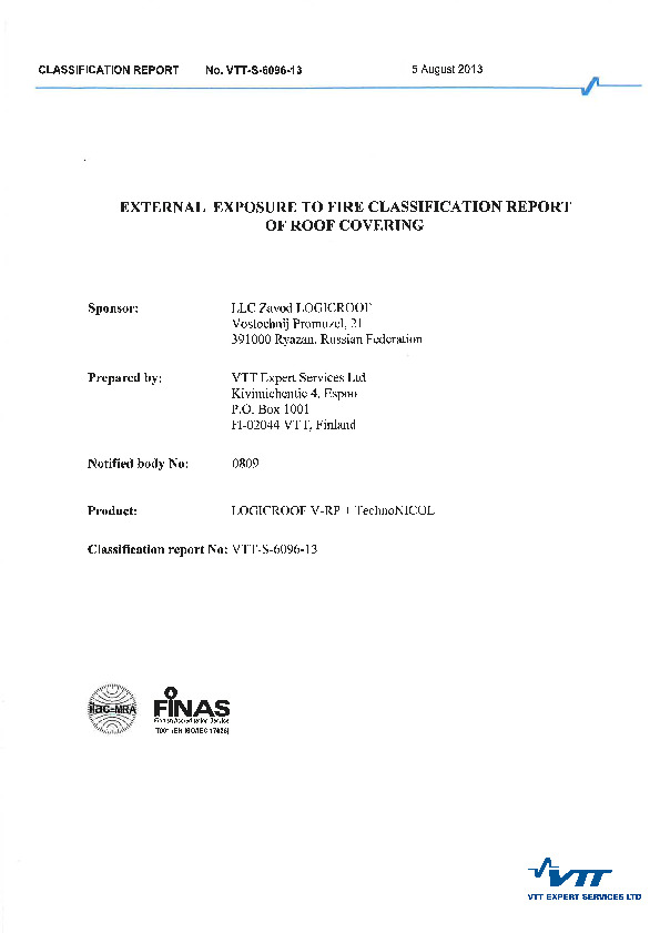 External exposure to fire classification report of roof covering(5 aug)